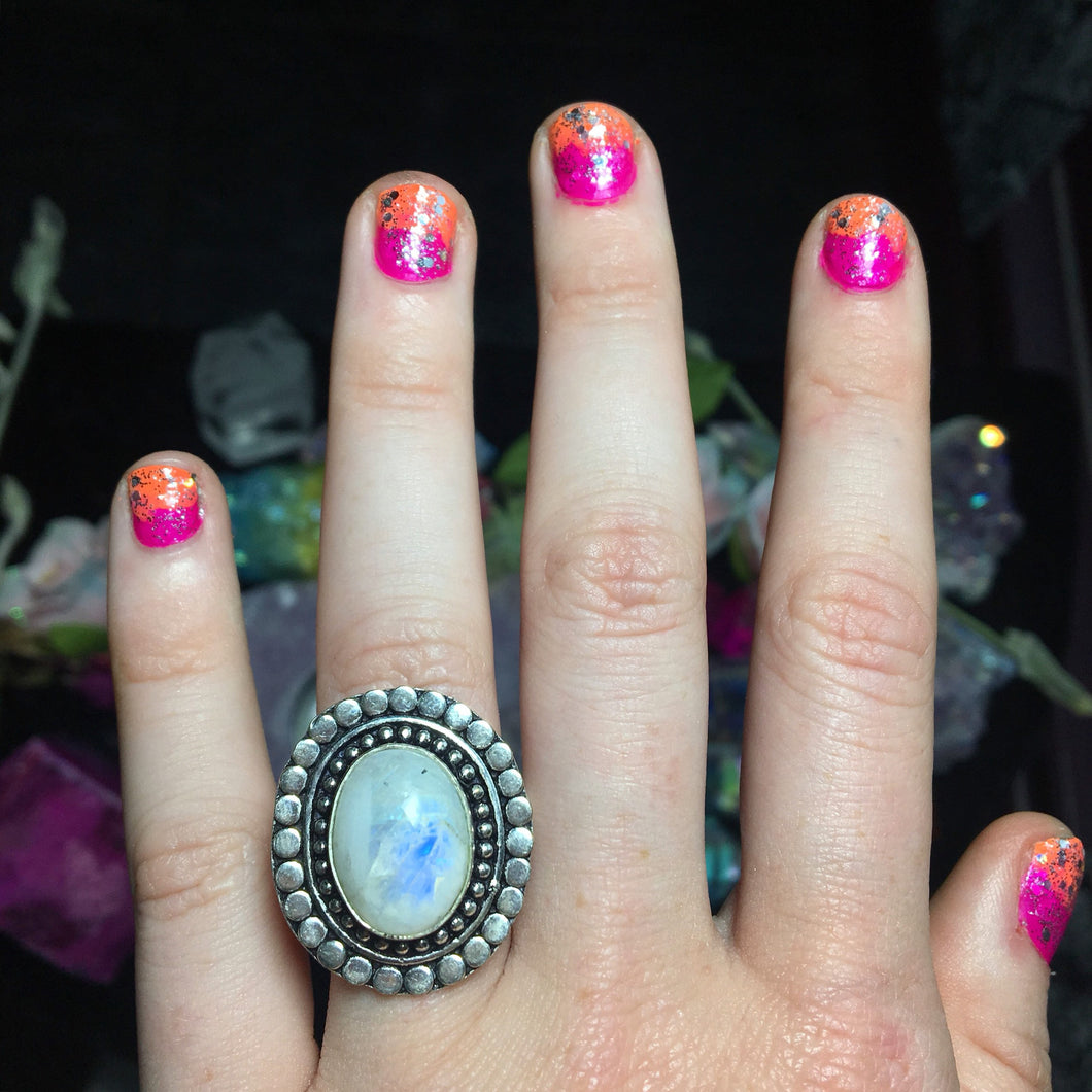 Rainbow Moonstone Ring size 8.5(925 Stamped) - The Whimsy Crystal Shop