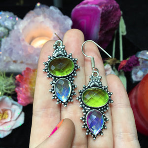 Peridot and Mystic Quartz Earrings(925 Stamped) - The Whimsy Crystal Shop