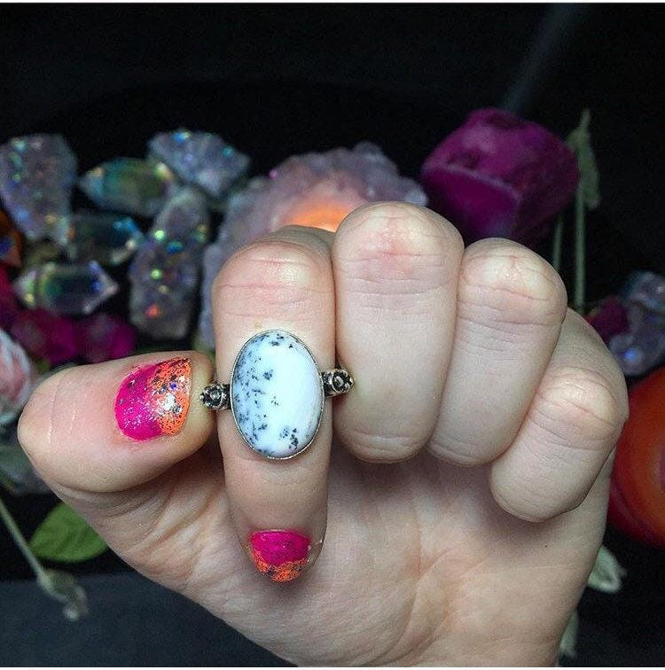 Dendritic Opal Ring, Size 9 (925 stamped) - The Whimsy Crystal Shop