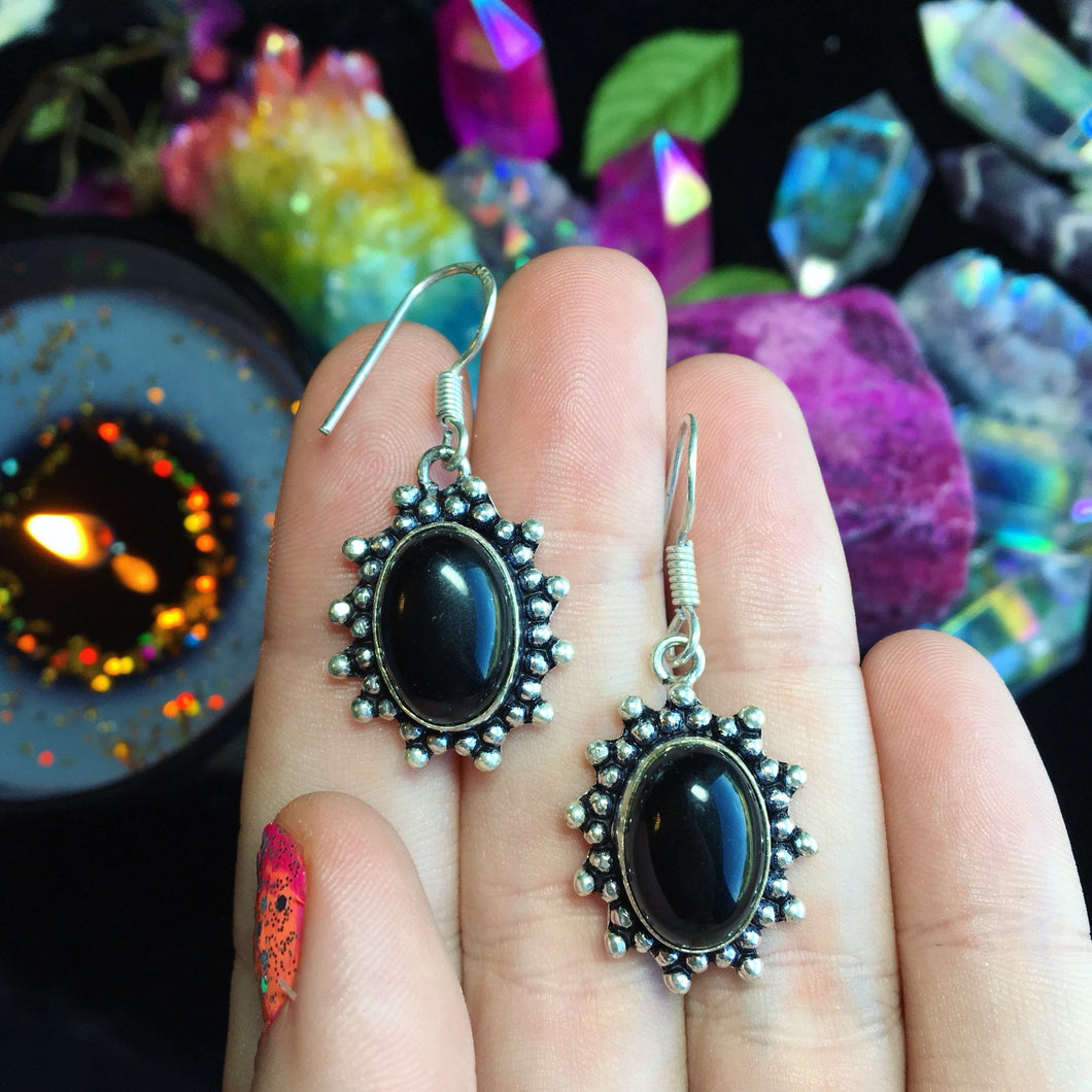 Onyx Earrings(925 Stamped) - The Whimsy Crystal Shop