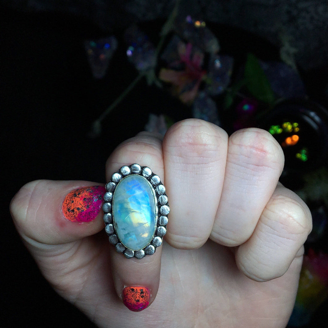 Blue Rainbow Moonstone Ring size 6 (925 Stamped) - The Whimsy Crystal Shop