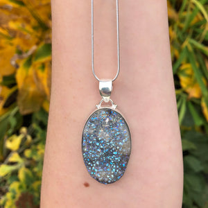 Blue Opal Aura Druzy Quartz Necklace Sterling Silver - The Whimsy Crystal Shop