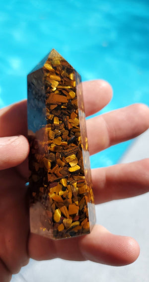 Tiger eye encapsulated resin Orgone reiki energy tower