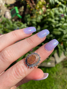 Mexican Fire opal size 6 sterling silver
