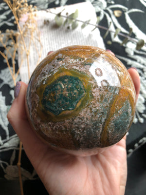 Large Ocean Jasper Sphere with yellow blue and light pink *comes with stand
