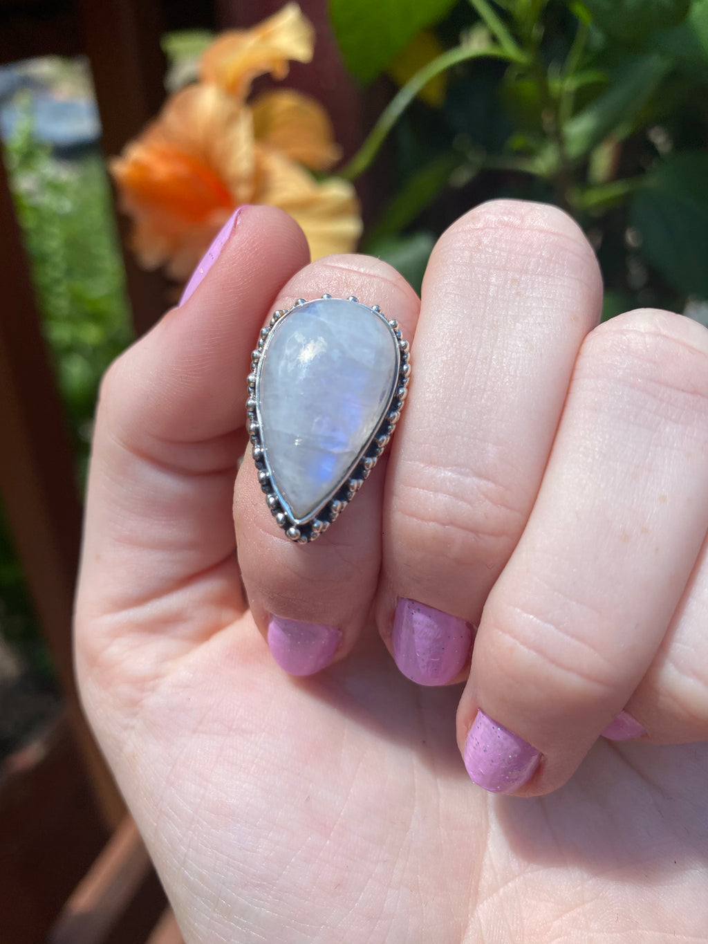 Rainbow moonstone size 6.75 sterling silver