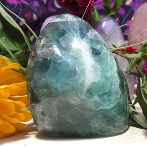 1.1lb Rainbow Fluorite Polished Standing Freeform - The Whimsy Crystal Shop