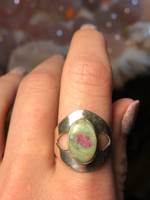 Ruby Fuchsite Heart ring size 9 sterling silver