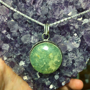Green Prehnite Necklace Sterling Silver