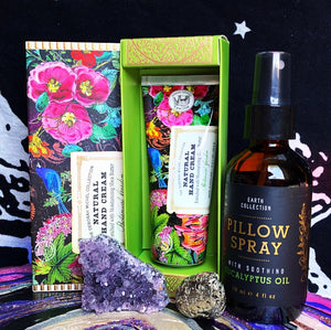 Beauty Bundle! With Eucalyptus Oil Pillow/Room Spray, Natural Botanical Garden Shea Butter Hand Cream, Amethyst and Pyrite Tumbled Stone (All Brand New) - The Whimsy Crystal Shop