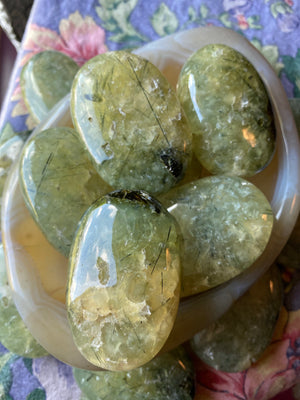 (1) Prehnite epidote Palmstone - intuitively chosen - they are all extremely similar