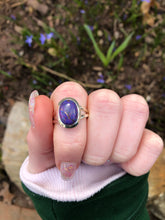 Purple copper turquoise ring size 7.5 sterling silver
