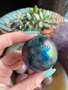 Aura apatite sphere comes with stand