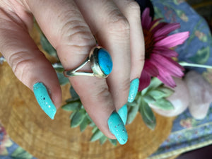 Turquoise ring size 7.75 sterling silver
