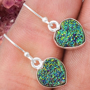 Aura Druzy Quartz Heart Earrings - The Whimsy Crystal Shop