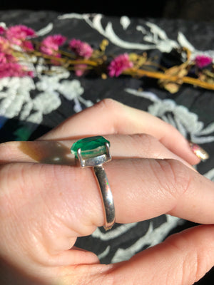 Emerald ring size 9 sterling silver