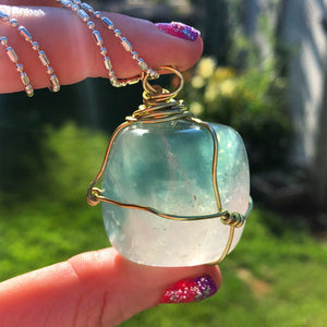 Wire Wrapped Fluorite Necklace - The Whimsy Crystal Shop