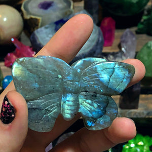 Blue Rainbow Labradorite Butterfly - The Whimsy Crystal Shop