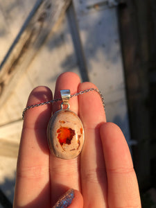Mexican Fire Opal Necklace Sterling Silver