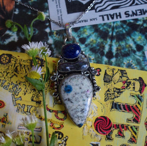 K-2 Stone with Black Pearl and Lapis Lazuli Necklace (925 Stamped) - The Whimsy Crystal Shop