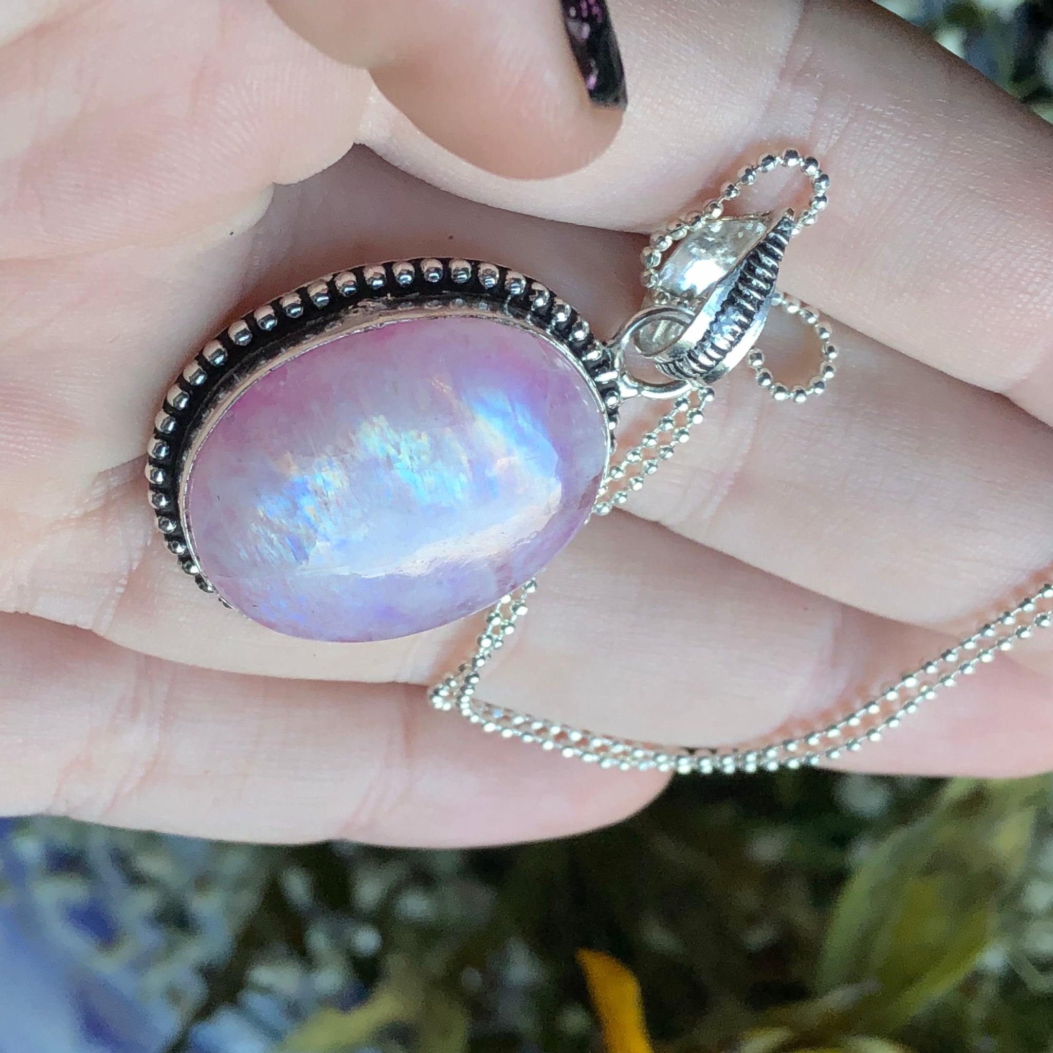 Pink Rainbow Moonstone Sterling Silver Necklace - The Whimsy Crystal Shop