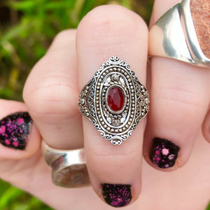 Garnet Ring Size 6 Sterling Silver Plated - The Whimsy Crystal Shop