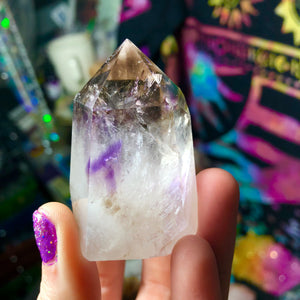 78g Smokey Quartz and Amethyst Standing Wand - The Whimsy Crystal Shop