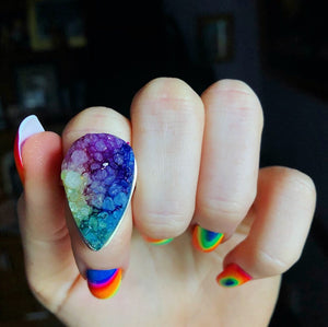 Rainbow Quartz Druzy Ring, Size 8.5 (925 Stamped) - The Whimsy Crystal Shop