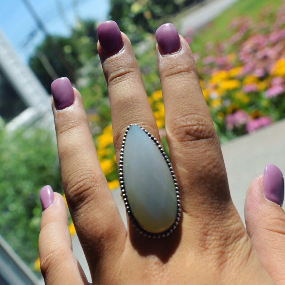 Faceted Milky Agate Ring Size 9 (925 stamped) - The Whimsy Crystal Shop