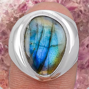 Blue Labradorite Ring Size 7.5 Sterling Silver - The Whimsy Crystal Shop