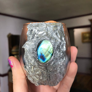 Green Labradorite LED Light Candle - The Whimsy Crystal Shop