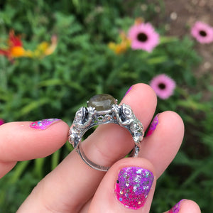 Sterling Silver Labradorite Frog Ring Size 7 (925 Stamped) - The Whimsy Crystal Shop