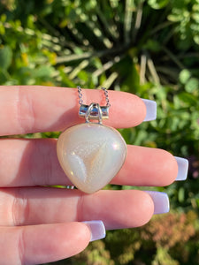 Angel aura agate druzy necklace sterling silver