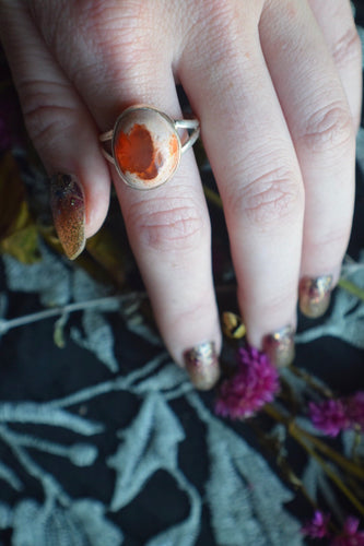Mexican Fire Opal Ring Size 10 Sterling Silver