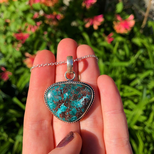 Chrysocolla Necklace Sterling Silver