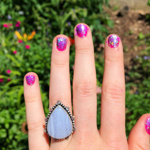Blue Lace Agate Ring, Size 8.5 (925 Stamped) - The Whimsy Crystal Shop