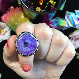 Purple Solar Quartz Ring, Size 8 (925 Stamped) - The Whimsy Crystal Shop