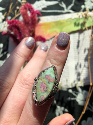 Ruby Fuchsite Ring Size 9 Sterling Silver