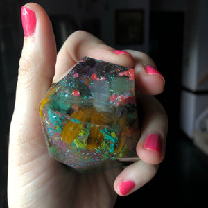 Reiki Orgone Resin Energy Generator with Sodalite,Red coral, Flowers, Amethyst, Blue Calcite, Aventurine, - The Whimsy Crystal Shop