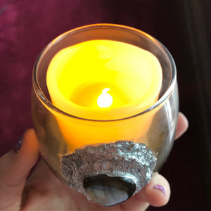 Reserved for @juliedream_ Rainbow Labradorite LED Light Candle - The Whimsy Crystal Shop
