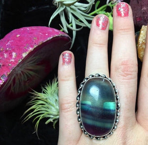 Fluorite Statement Ring, Size 6.5 (925 Stamped) - The Whimsy Crystal Shop