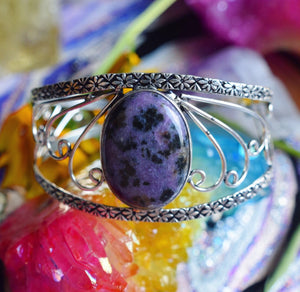 Purple Dalmatian Stone Bracelet (925 stamped) - The Whimsy Crystal Shop