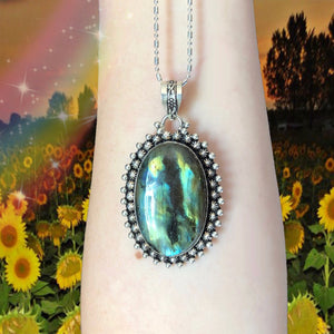 Rainbow Labradorite Necklace (925 Stamped) - The Whimsy Crystal Shop