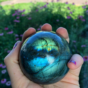 1.1lb Rainbow Labradorite Sphere - The Whimsy Crystal Shop