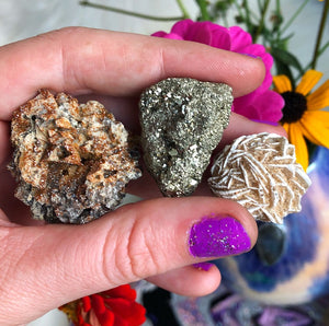 Crystal Bundle with Vandonite, Pyrite and Desert Rose - The Whimsy Crystal Shop