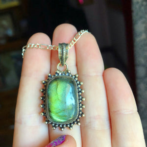Rainbow Labradorite Necklace(925 Stamped Pendant) - The Whimsy Crystal Shop