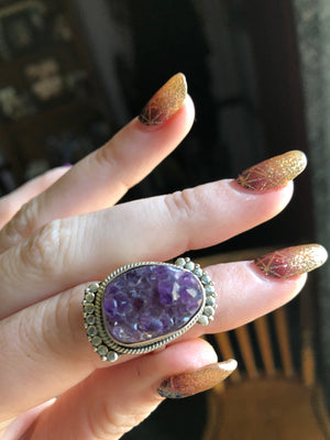 Amethyst Cluster ring size 8.5 sterling silver