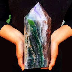9.8lb XL Colorful Fluorite Standing Tower Cathedral - The Whimsy Crystal Shop