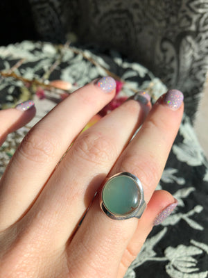 Aquaprase ring size 9 sterling silver