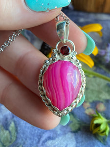 Pink agate garnet necklace sterling silver